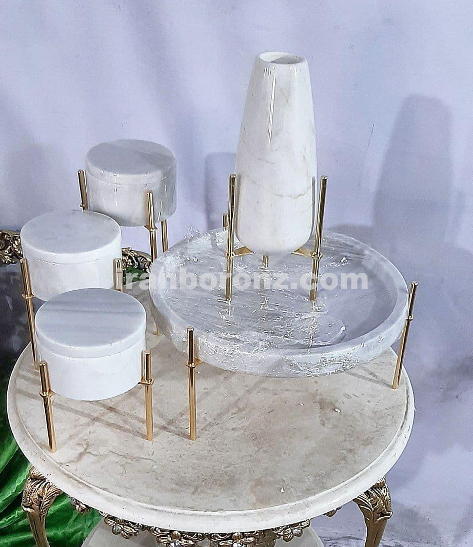 ست پذیرایی سنگی 5 تکه پایه میخی با سنگ سفید کاربردی و شیک
