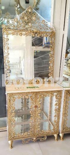 آینه ویترین برنزی مدل تخت گل شیپوری سنگین