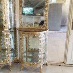 آینه ویترین برنزی مدل خم آفتابگردان