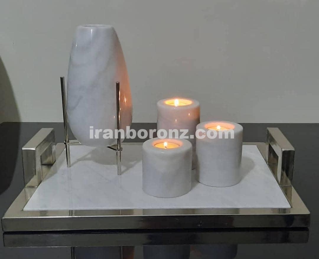 ست سنگی ۳ تکه به همراه سینی و گلدان و جا شمعی
