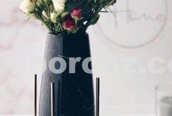 گلدان پایه میخی با سنگ مشکی